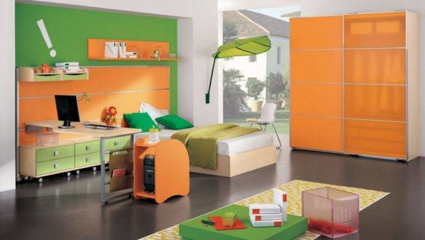 Admirable Boys Room Paint Ideas Applying Green Orange Color