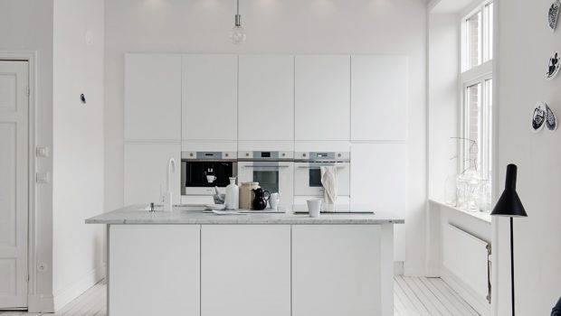 All White Kitchen Island Marble Worktop