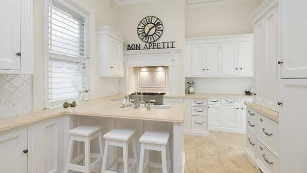 All White Kitchen Large Mirror