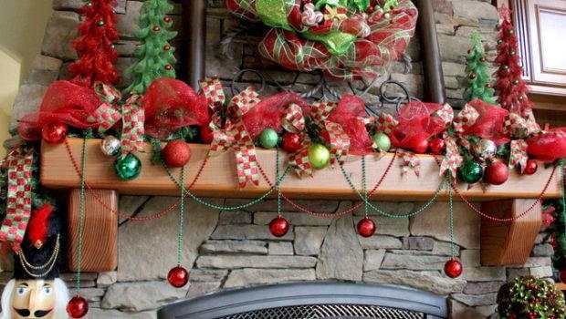 Already Festive Fireplace Draping Mardi Gras Beads Ornaments