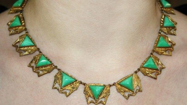 Amazing Art Deco Necklace Egyptian Revivial Influence Peking Gla