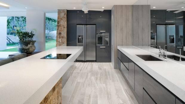 Amelia Mist Floor Tile Modern Kitchen New York