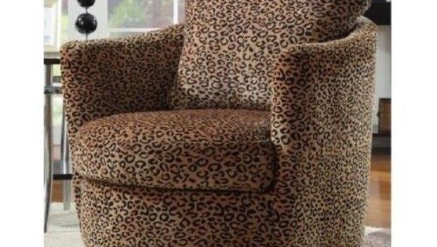 Animal Print Chair Swivel Base Arm Leopard Pattern Home