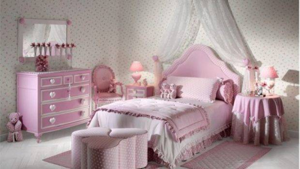 Arm Chair Facing White Canopy Pink Bed Inside Teen Girl Bedroom