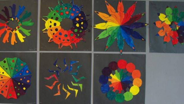 Art Paper Scissors Glue Creative Color Wheel