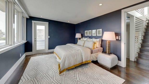 Aside Beautiful Navy Blue Walls Bedroom Boasts