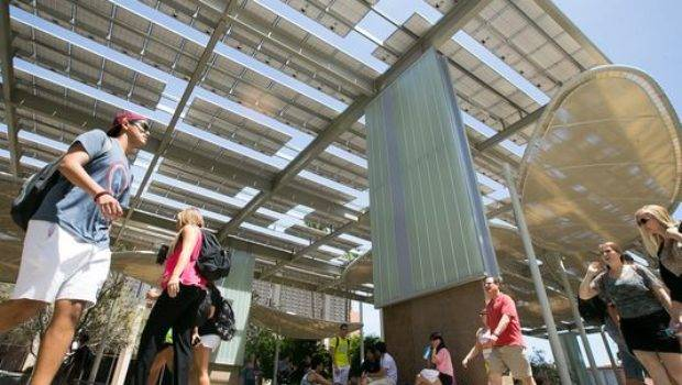 Asu Solar Panel Structures Provide Shade Students