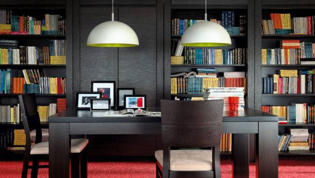August Brw Home Office Library Furniture Set Polish Black Red White