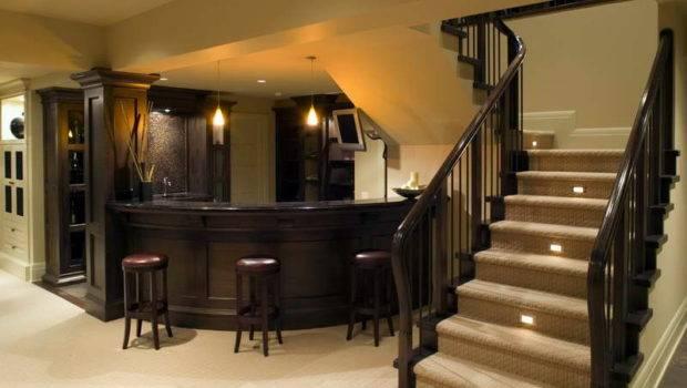 Basement Bar Designs Stairs Wood