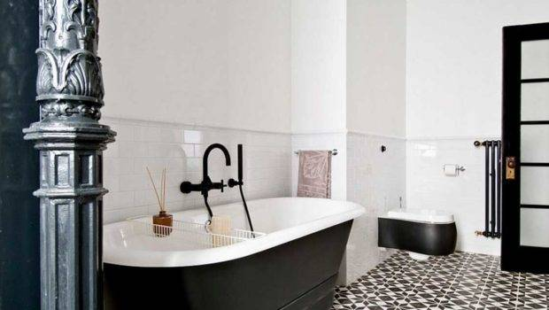 Bathroom Look Attractive Black White Tile Flooring