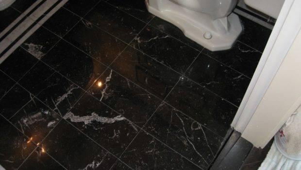 Bathroom Marble Floor Black Tile Repair Dedham