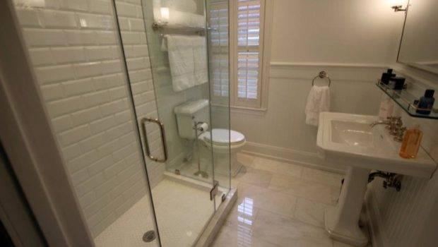 Bathroom Restoration Hardware Beveled Subway Tile