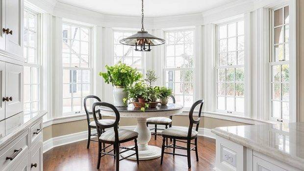 Bay Window Filled Black White Pedestal Dining Table
