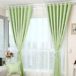 Beauteous Printed Star Pattern Apple Green Curtains