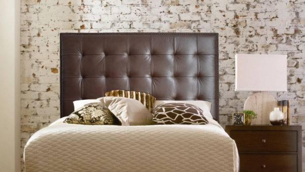 Bedroom Black Wall Mounted Headboard Two Nightstands