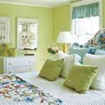 Bedroom Green Paint Ideas Bed Bedding Light Wall