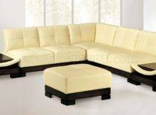 Beige Modern Leather Sectional Sofa Built Side Tables Efss
