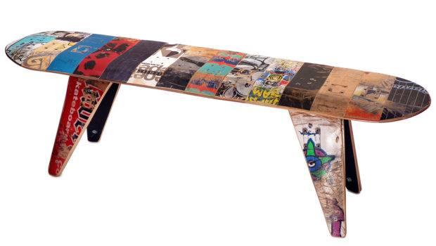 Bench Long Skateboard Reclaimed Skate Deck Furniture