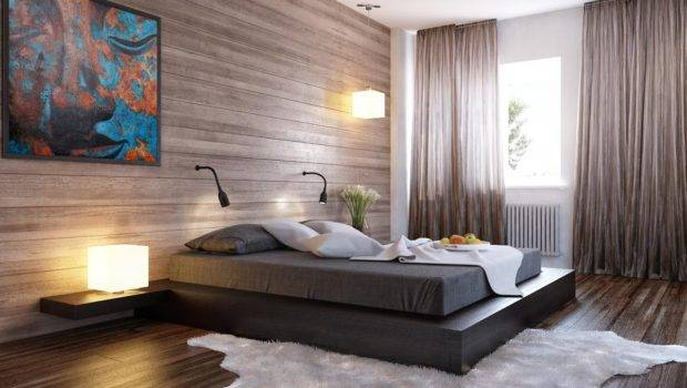 Black Bed Wood Clad Interior Wall Design Olpos