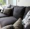 Black Couch White Pillows Grey Knitted Pillowa