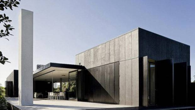 Black Cubic House Design Mixing Modern Architecture Natural