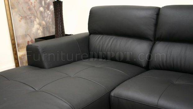 Black Leather Contemporary Shaped Sofa Sectional High Back Wiss