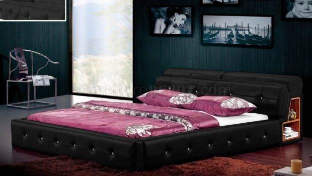 Black Leatherette Modern Bed Moveable Headrest