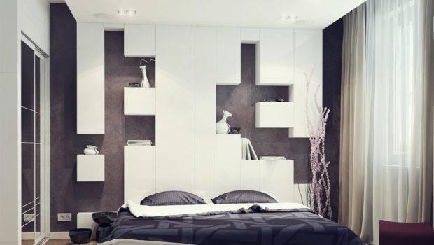 Black White Bedroom Storage Headboard Pillow Olpos Design
