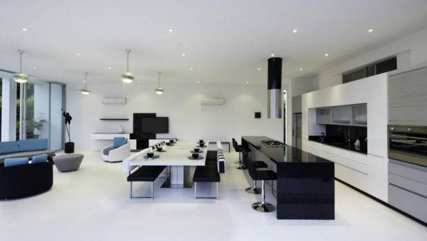 Black White Kitchen Dining Table Living Space Modern House