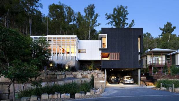 Black White Timber Clad Storey House Hill Side