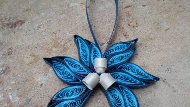 Blue Christmas Tree Ornament Modern Trendy Georgianaartandstyle