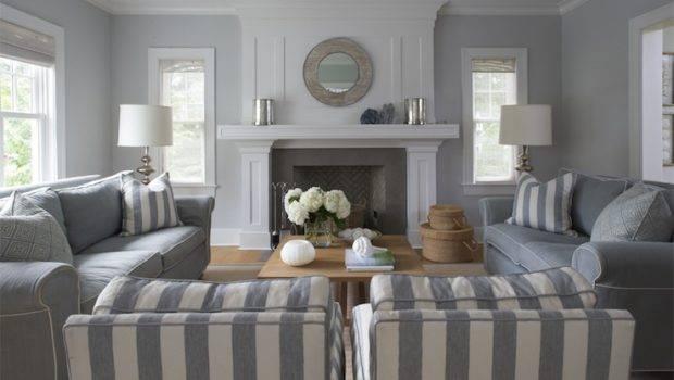 Blue Gray Living Room Cottage Lynn Morgan Design