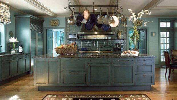 Blue Kitchen Pot Rack