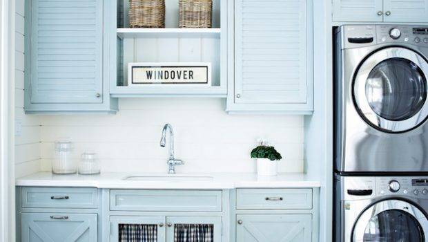 Blue Louvered Laundry Room Cabinets Cottage