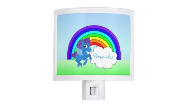Blue Pony Rainbow Night Light Zazzle