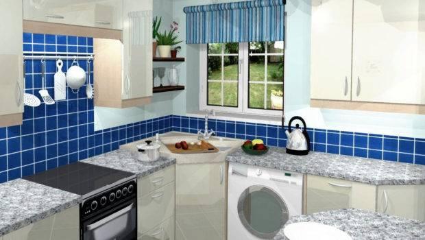 Blue Small Kitchen Decorating Design Ideas
