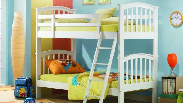 Blue Wall Paint Bedroom Decorating Ideas White Wooden Bunk Beds
