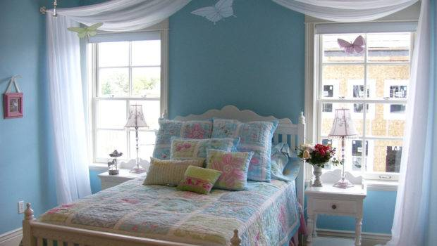 Blue Wall Paint White Curtain Chandelier Bedroom Teenage Room