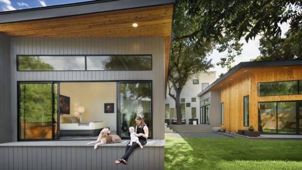 Bold Modern Shaped Courtyard House Designed Around Trees