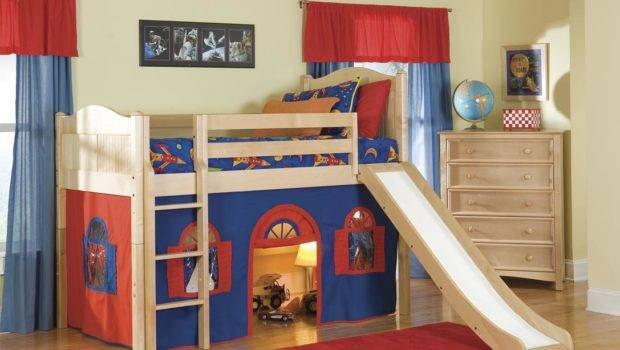 Bolton Kids Cottage Loft Bed Slide Blue Red Natural