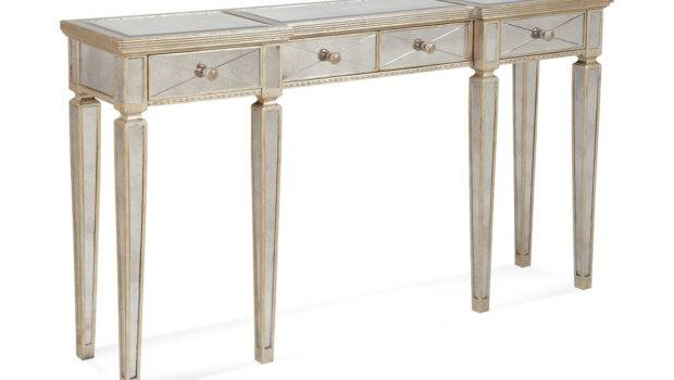 Borghese Mirrored Console Table Drawers Antique Mirror Silver
