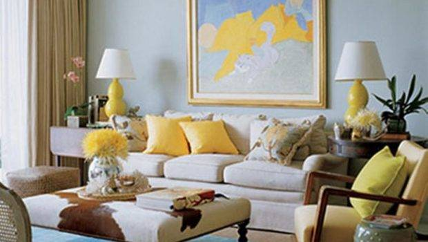 Brown Blue Yellow Living Room Ideas Modern House