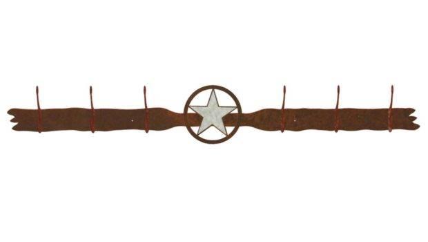 Burnished Texas Star Six Hook Metal Wall Coat Rack