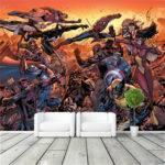 Cartoon Avengers Movie Wall Mural Marvel