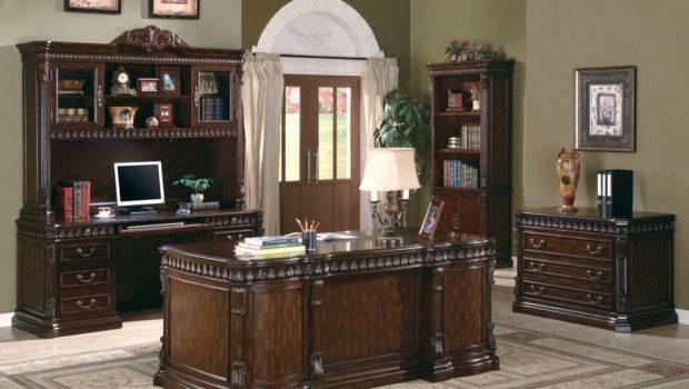 Carved Wood Desk Home Office Furniture Set Dark Walnut Finish