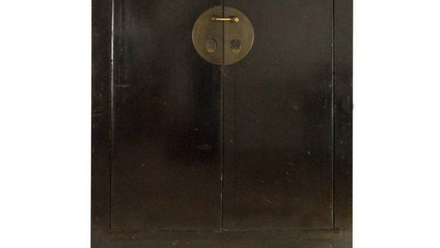Century Two Door Chinese Black Lacquer Cabinet Stdibs