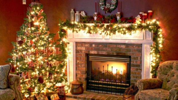Christmas Tree Fireplace Pics Photos