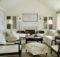 Classic Living Room Beadboard Sloped Ceiling Built Ins Flanking
