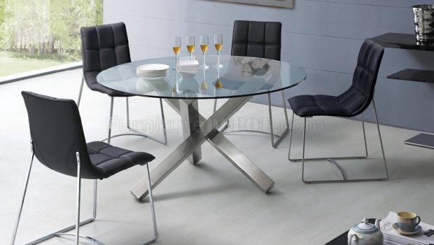 Clear Glass Round Top Modern Dining Table Metal Base Options Efds