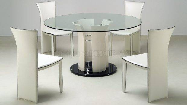 Clear Round Glass Top Modern Dining Table Optional Chairs Cyds
